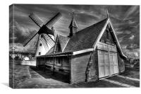 Lythams Lifeboat Station and Windmill, Canvas Print