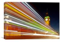 Light Trails on Westminster Bridge, Canvas Print