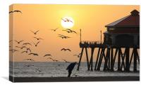 Sunset Over Seagulls, Canvas Print