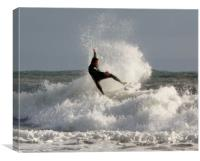 Surfing at Langland Bay., Canvas Print