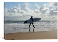 Surfer at Langland Bay., Canvas Print