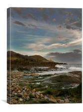 Mumbles Lighthouse from Bracelet Bay., Canvas Print