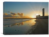 Sunset at Swansea Bay., Canvas Print