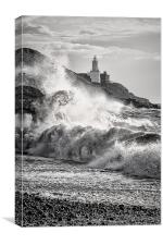 Mumbles Lighthouse Stormy Waves., Canvas Print