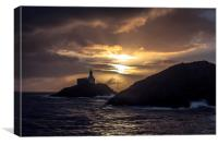 Mumbles Lighthouse at Sunrise., Canvas Print