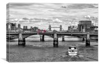 Gazing down the Thames., Canvas Print