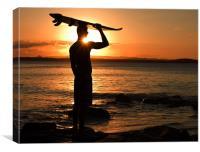 Surfer at Sunset, Canvas Print