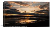 Sunset over Amble, Canvas Print