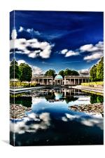 Pavilion Reflected in Lily Pond, Canvas Print