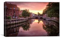 Fye Bridge Dawn, Norwich, Canvas Print