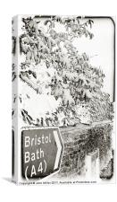 Bristol/Bath Road Sign In the Snow, Canvas Print
