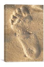 footprint in sand, Canvas Print
