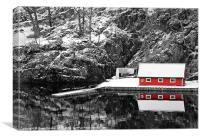 Red Boathouse In Winter, Canvas Print