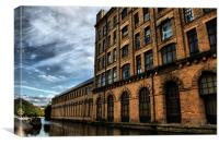part of  salts mill over  leeds liverpool canal