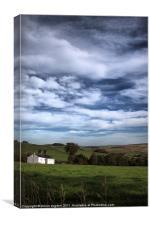 white. farm. house. lancashire., Canvas Print
