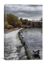 otley weir on river aire west yorkshire