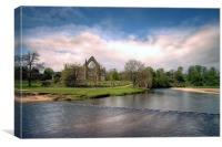 bolton abbey from bridge near river Wharfe, Canvas Print
