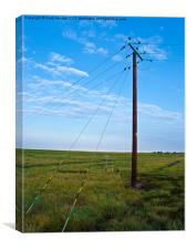 Lonely power line on beautiful island, Canvas Print