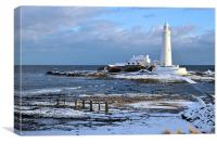 St Mary's Lighthouse and Posts, Winter, Canvas Print