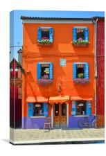 Colours of Burano.                             , Canvas Print