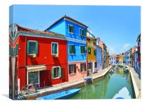Burano Canal    , Canvas Print
