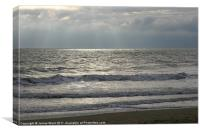 Lapping waves at the beach, Canvas Print