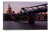 Millennium Bridge and St Pauls Cathedral, Canvas Print