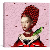 La mademoiselle en rouge, Canvas Print