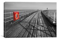Along Whitby pier, Canvas Print