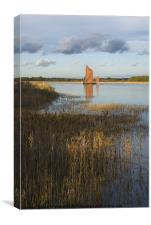 Snape Maltings Wherry in evening light, Canvas Print