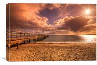 Boscombe pier sun & clouds, Canvas Print