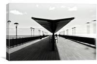 Boscombe pier in black and white, Canvas Print
