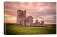 Knowlton Church at sunset, Canvas Print
