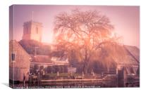 Morning Mist Willow Tree, Canvas Print