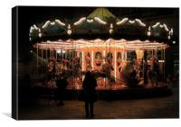 Merry Go Round at Night, Canvas Print
