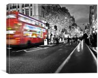 Christmas shopping in London, Canvas Print