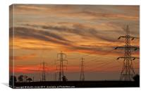 Megawatt Alley Pylon Sunset, Canvas Print