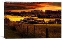 Sunset over the Howardian Hills, Canvas Print