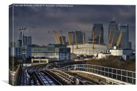 Through Docklands to the City, Canvas Print