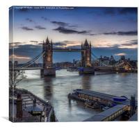 Dawn over the Thames at Tower Bridge, Canvas Print