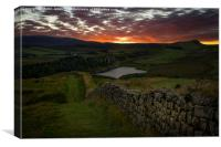 Sundown over the Roman Wall at Sewingshields Crag, Canvas Print