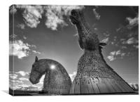 Late Evening Sun at The Kelpies, Canvas Print