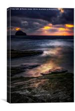 Trebarwith at Sunset, Canvas Print