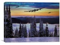 Lancaster Hurricane and Spitfire over the Snow, Canvas Print