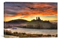 Merlin Dawn over Corfe Castle, Canvas Print