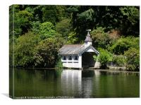 Trevarno boat house and lake, Canvas Print