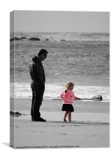 Daddy's Little Girl selective colour, Canvas Print