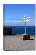 Lands End Signpost and Lighthouse, Canvas Print