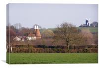 Icklesham Windmill Manor Farm Oast House, Canvas Print
