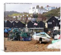 Hastings net lofts and fishing pots, Canvas Print